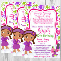 Spa Beauty Party Invitation Package (YOU CHOOSE)