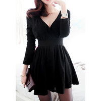 Black Pleated Long Sleeve Vintage Mini Dress