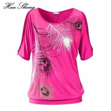 2016 Fashion Women Summer Off Shoulder Top Loose Plus Size Women Tops Feather Print Ladies