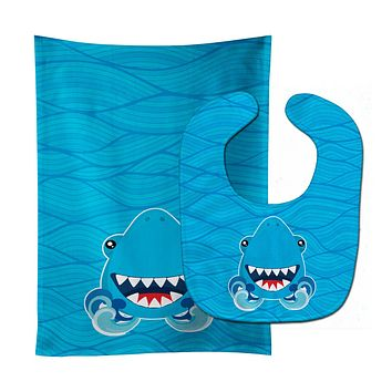 Shark Open Wide in Waves Baby Bib & Burp Cloth BB6947STBU
