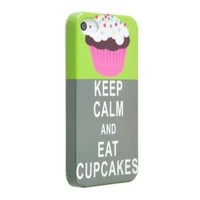 Okeler Keep Calm and Eat Cupcake Green Hard PC Case Cover Shell for iPhone 4 4G 4S with Free Pen