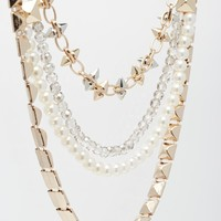 River Island Spike And Pearl Multirow Short Necklace at asos.com