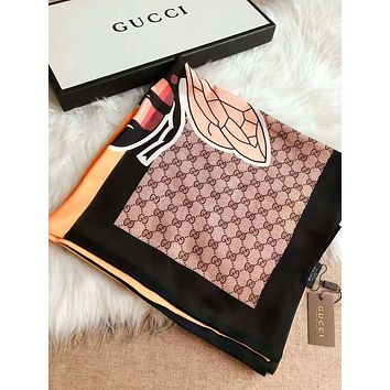 GUCCI Stylish Women Men Stripe Bee Pattern Sunscreen Cape Scarves Silk Scarf Accessories