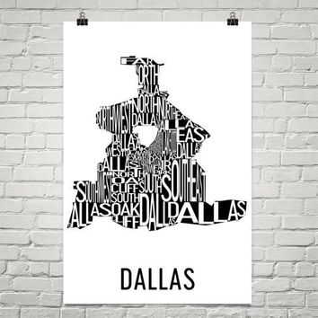 Dallas Neighborhood Typography Prints – Modern Map Art