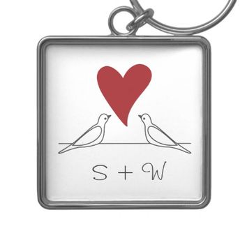 Love Bird Red Heart Simple Rustic Monogram Keychain