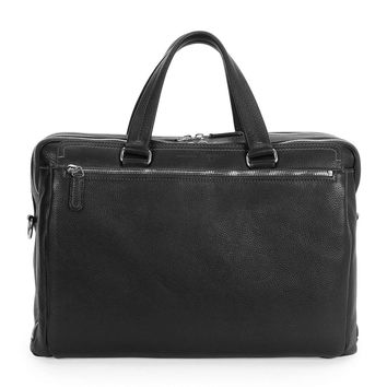 Men's Single-Gusset Leather Briefcase, Black - Salvatore Ferragamo - Black