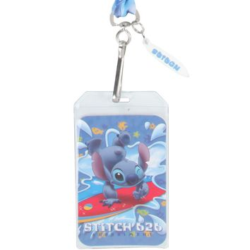 Licensed cool NEW Disney Lilo & Stitch Hawaii SURFING ID Holder Pin Lanyard W/ Surfboard Charm