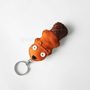 Beaver keychain plush, cute animal key ring, woodland stuffed animal keychain, funny accessory, gift idea for teens, back to school