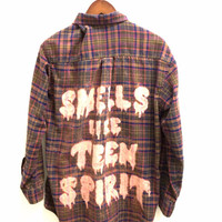"Nirvana Plaid Shirt with ""Smells Like Teen Spirit"" Song Lyric Quote"