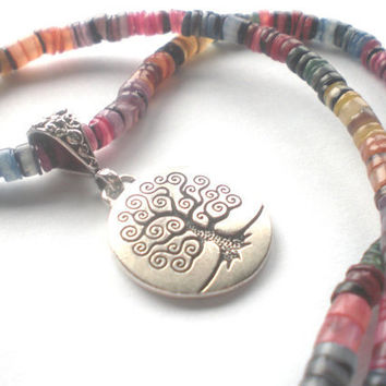 Rainbow Tree of Life Necklace - Rainbow Dyed Shell Beaded Necklace