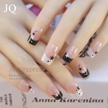 JQ Fashion Style Lady French Artificial Fake False Nail Tips Stars Design 24pcs Full Cover Acrylic Nails Art Salon