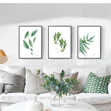 Fresh style wall art canvas prints leaf picture home decor pictures unframed modern art painting for living room