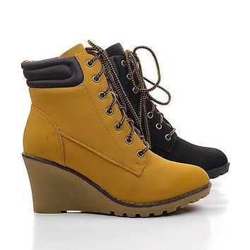 Godiva01 Wheat Pu By Nature Breeze, Wedge Ankle Cuff Work Lace Up Booties