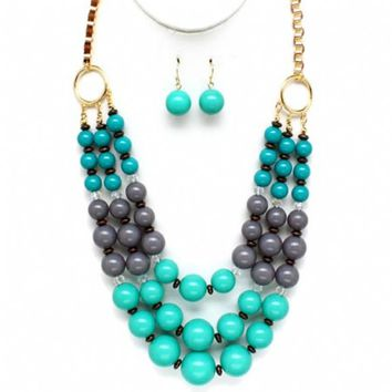 Vega's Turquoise & Grey Beaded Layered Necklace Set