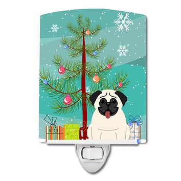Merry Christmas Tree Pug Cream Ceramic Night Light BB4129CNL