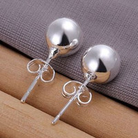 925 Sterling Silver Ball Stud Earring Jewelry 8 mm Bead Earrings For Women  SM6