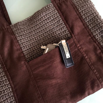 Crochet micro suede bag with outside pockets in brown & taupe, fully lined handbag, crochet boho handbag, hobo handbag, vegan bag, #H018