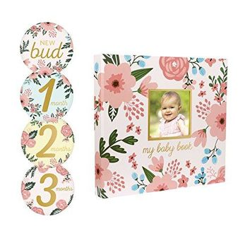 Floral Baby Memory Book with Included Baby Belly Stickers