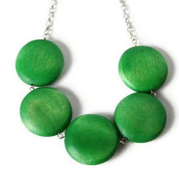 CIJ Sale 15% OFF Lime Green  Necklace. Chunky Beaded Necklace. Geometric Big Round Green Wood Beads.