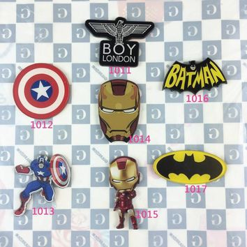 The Avengers Acrylic Batman Badge Collar Tips Captain America Shield Ironman brooch Gifts XZ34