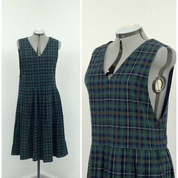 Vintage 80s Forest Green Plaid Jumper Dress, Navy Blue Corduroy Jumper, Drop Waist Dress, Womens Jumper, Preppy Clothing