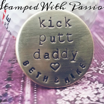 Custom Nickel Silver Hand Stamped Golf Ball Marker For Dad