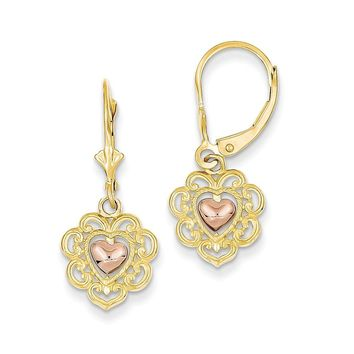 14k Two-tone Gold Heart with Lace Trim Leverback Earrings
