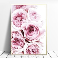 Nordic Poster Pink Roses Peony Cuadros Decoracion Picture Plakaty Posters And Prints Wall Art Canvas Painting Pictures Unframed