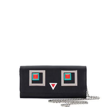 Fendi Faces Tube Wallet-on-Chain, Black