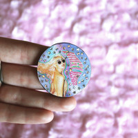Holographic Stars Pastel Kali Rainbow Uchis Brooch/Pin, Handmade, Music Pins, Music Gifts, Gift For Her, Loner, Por Vida, Cute, Tumblr, Goth