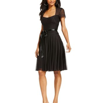 JS Collections Dress, Short Sleeve Satin Stripes Cocktail Dress - Dresses - Women - Macy's