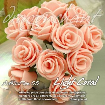 Size 20mm Head Solid Light Coral Color PE Rose Foam Flower Bouquet Scrapbooking Artificial Rose Flower(144pcs/lot)