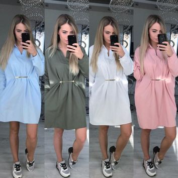 Fashion Long Sleeve Shirt Dress