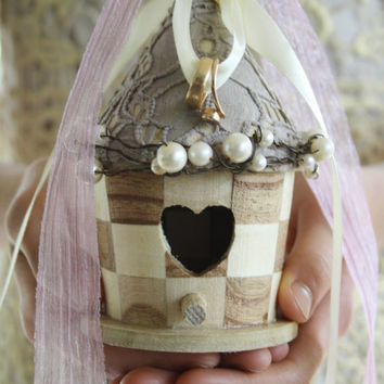 Ring bearer pillow Rustic birdhouse ring bearer Ring box Rustic wedding Lace Bird nest Woodland ring holder ring holder HIPPOLYTA
