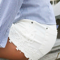 Denim Days Crochet Side Detail White Denim Shorts