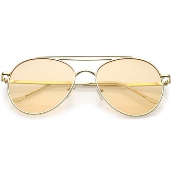 Premium Retro Colored Flat Lens Metal Aviator Sunglasses C495