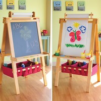 Pine-Wood Double Sided Art Easel (Chalkboard, Dry Erase) at CPtoys.com