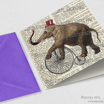 Elephant riding velocipede bicycle Square Greeting Card with envelope-Funny elephant card-Elephant card-Design NATURA PICTA NPSGC013