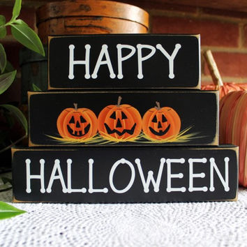 Happy Halloween Sign Shelf Sitter Blocks Spooky Decor Jack o Lantern Pumpkins