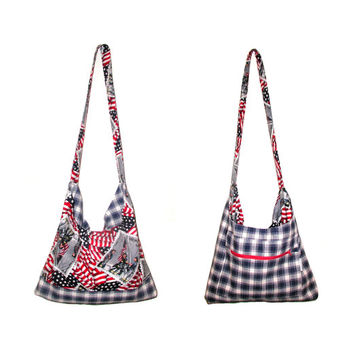 Patriotic Purse - American Flag - Red White Blue - USA Shoulder Bag with Zipper Pocket - One of a Kind - Long Strap - Checked Plaid