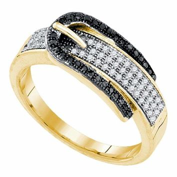 10kt Yellow Gold Women's Round Black Color Enhanced Diamond Belt Buckle Band Ring 1-4 Cttw - FREE Shipping (US/CAN)