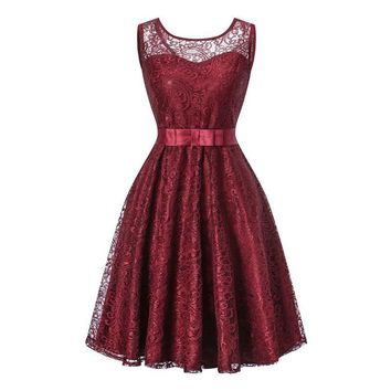 Ball Gown Lace splicing fashion wine red wedding party dress prom  Short Bridesmaid Dresses
