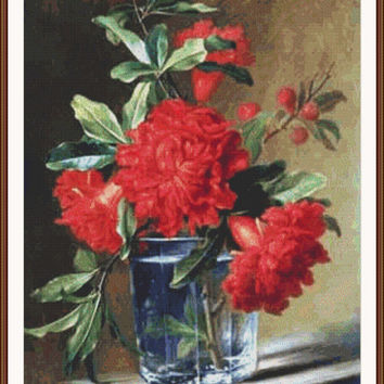 Red Carnations - Counted cross stitch pattern in PDF format