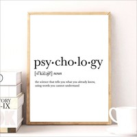 Psycholog Gifts Print Funny Definition Poster, Psychology Quote Canvas Painting College Dorm Room Wall Art Minimalist Poster