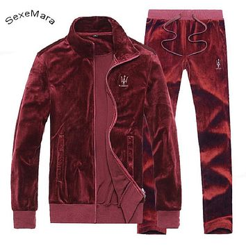 SexeMara Casual Zipper Men's Hoodies Sportwear Autumn Fleece Velour Hoody Men Tracksuit Clothing Hoodie Sweatshirts Plus Size