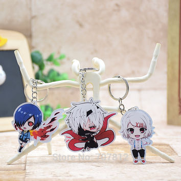 Cute Tokyo ghouls acrylic Keychain Pendant Car Key Chain Key Accessories Kaneki Japanese Cartoon Collection Best Gift LTX1