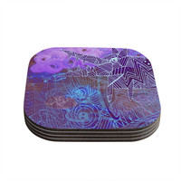"Marianna Tankelevich ""Abstract With Wolf"" Purple Illustration Coasters (Set of 4)"