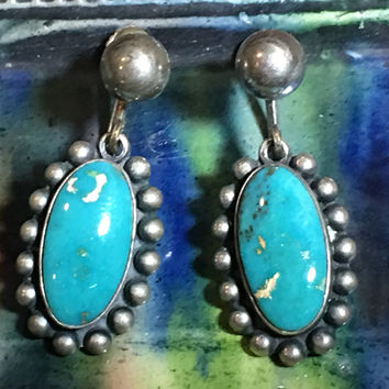Turquoise Earrings Navajo Sterling Silver Screw Back