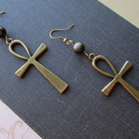 Mystic Bronze Ankh with Gold Sheen Obsidian Earrings