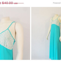 SALE Vintage Nightgown 60s Turquoise Satin & Ivory Lace Nightie size Small Union Made in USA